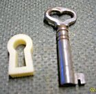 ANTIQUE STEEL SKELETON KEY WITH HEART CUT-OUT AND KEY HOLE, GREAT FOR NECKLACE