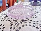 L.E Smith Lavender Light Amethyst Glass Hobnail Oval Butter Dish W/ Finial Top