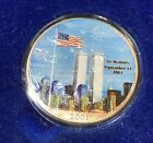 2001 SILVER EAGLE WITH TWIN TOWERS MEMORIAL AND FLAG STAMP REVERSE WITH BOX