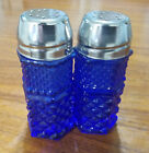 Vtg Anchor Hocking Cobalt Blue Wexford Salt and Pepper Shaker Set