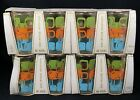 Lot of 8 Vtg Anchor Hocking 6 OZ Juice Glasses Glasspak Green Orange Blue Links