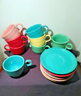 Fiesta 15 Piece Lot Tea Coffee Cups and Saucers Red Pink Yellow Green Blue