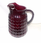 Vintage Royal Ruby Bubble Bullseye Anchor Hocking glass pitcher 64 oz 9 1/2