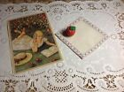 KIRSTEN'S EMBROIDERED HANKIE & POST CARD~Authentic America Girl~w/Apple~Retired