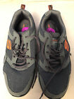Mens Skechers Athletic Tennis Shoes Gray Orange Memory Foam Leather Textile 105