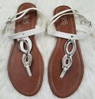 385 Fifth Womens White Silver And Tan Flat Sandals Size 10 Hook Loop Straps
