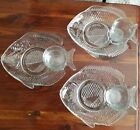 3 Pressed Glass Fish Snack Plates w 3 Sauce Cups Cocktail Salad Oyster Roast