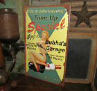 Primitive Antique Vtg Style Girl Auto Garage Tune Up Special Tin Sign Gift Idea