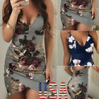 Women Summer Sleeveless Floral Evening Party Cocktail Beach Short Mini Dress US
