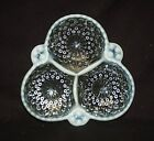 1940's Moonstone Clear Opalescent Hobnail 3 Part Relish Dish by Anchor Hocking