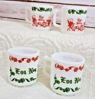 Milk Glass Egg Nog And Tom And Jerry Christmas Mugs Set of 4 Anchor Hocking