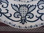 EARLY 19TH C INDIGO HAND EMBROIDERED FLORAL LINEN TABLE CLOTH