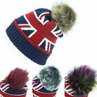 Beanie Hat Cap Fur Bobble Warm Winter UNION JACK Macahel Soft Lining Men Ladies