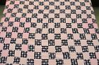 GENTLY USED Vintage All Cotton Machine Set CHECKERBOARD Quilt TOP, 77