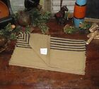 PRIMITIVE Antique Vtg Style FARMHOUSE Blk Stripe COVERLET RUNNER RETIRED  67TBSR