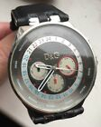 MENS DOLCE AND GABBANA TIME LEATHER STRAP  WATCH,