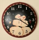 PRIMITIVE BLACK  WALL CLOCK with SNOW COUPLE