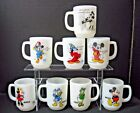 set 8 DISNEY mugs black + blue PEPSI mickey minnie donald daisy Anchor Hocking