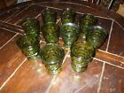 VTG Indiana Whitehall Colony Cubist Avocado Green Glasses, Set of 10