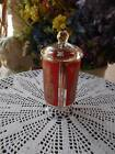vintage mid century modern lidded MARTINI OLIVE GLASS JAR clear red gold 6 1/4