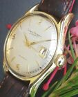 DB8: NEAR PERFECT 14K SOLID GOLD SHELL GIRARD PERREGAUX 39j AUTOMATIC MENS WATCH
