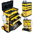 Mobile Trolley Tool Box Stacking Portable Metal Chest Rolling Wheels Handle NEW