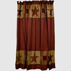 Primitive Farmhouse` Burgundy and Tan `NinePatch Quilted Shower Curtain