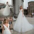 White/Ivory Floral Lace Sequins Wedding Dress V-Neck Tulle Ball Gown Bridal Gown