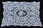 ANTIQUE HAND MADE LACE PLACE MAT DOILY  WITH ANGEL CHERUB CENTER