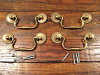4 Vintage Solid Brass Drop Bail Style Drawer Pulls Handles NOS