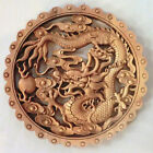 CHINA HAND-CARVED DRAGON STATUE CAMPHOR WOOD PLATE WALL SCULPTURE 01