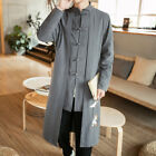 Men Spring Fall Black Embroidery Ethnic Trend Tang suit Bottons Slim Fit Coat