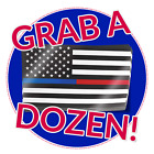 Thin Blue Red Line American Flag Decal -12 Stickers Firefighter Police Support