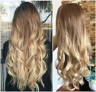 Long Straight Wavy Ombre Half Head Wig 3/4 Weave Brown Blonde No Front Parting