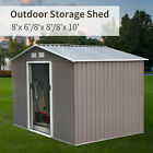 Steel Outdoor Storage Shed Garden Backyard Toolshed House Lawn Waterproof 4 Size