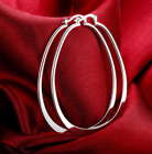 Womens 925 Sterling Silver Plated Elegant Oval Shaped Extra Large Hoop Earrings