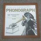 THOMAS A EDISON CYLINDER PHONOGRAPH ADVERTISING GLASS MIRROR STORE DISPLAY MUSIC