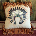 Western Theme Leather Fringe PILLOW 16 x 16 Handmade Native style +12 CHOICES