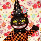 Grinning Black CAT Witch Hat Retro Large Primitive Doll Kitty Shelf Sitter~NWT