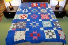 Vintage Hand Sewn Feed Sack QUILT TOP FOR BLOCKS:  21 Usable Star Blocks
