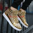 Mens casual lace up high top sequins faux patent leather fashion sneaker shoes