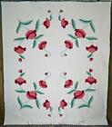 Lovely! Vintage 30-50s Applique Pink And Red Poppy QUILT 89x77