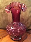 FENTON Glass Cranberry Pink Large Hobnail Vase Double Crimped Edge 11 inches