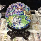 Cloisonne Bird and Floral Plate with Stand blue used one of a kind