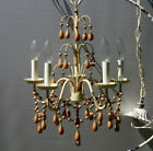Vintage Beaded Italian 5 light chandelier with wooden beads and drops