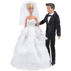 E-TING Wedding Pack, Beautiful Gown Bride Dress Clothes with Veil and Groom Form