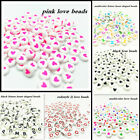 Hot 600Pcs 7mm Heart shaped A Z Alphabet Letter Round Beads Acrylic Spacer Bead
