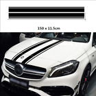 Black Racing Car Hood Stripes Engine Cover Bonnet Racing Vinyl Decal Stickers