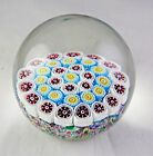 Murano Glass Paperweight 3 Rows of Millefiori Red Blue Yellow White