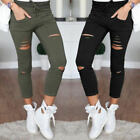 Women Skinny Ripped Holes Pants Jeans Casual Stretch Slim Pencil Legings Trouser